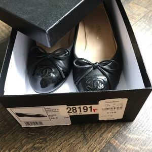 NO lowball AUTH Black Chanel ballet flat size 36 6